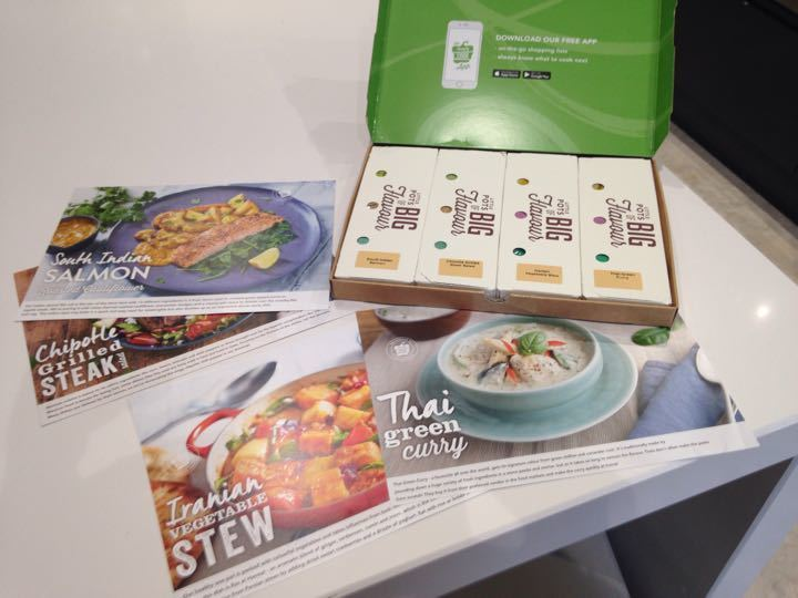 Simply Cook box with 4 meal ideas - South Indian salmon,  chipotle grilled steak, Iranian vegetable stew and Thai green curry