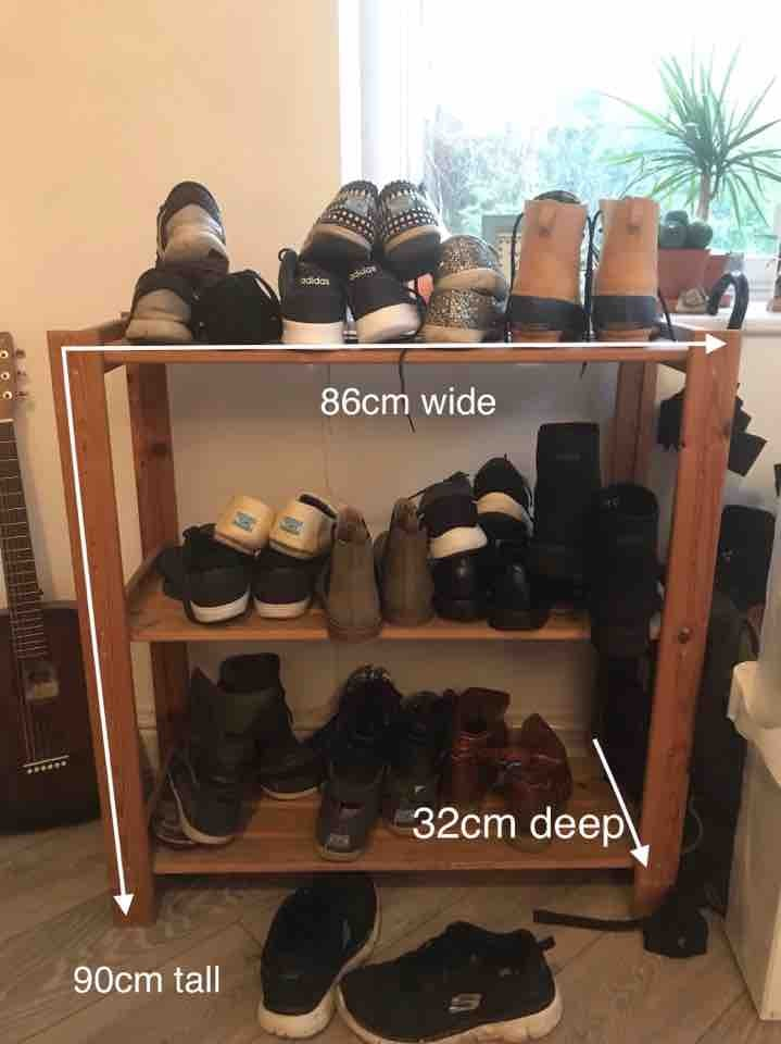 Wooden three-shelf shoe rack