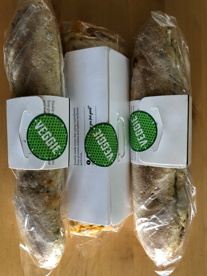 2 veggie baguettes and one veggie wrap