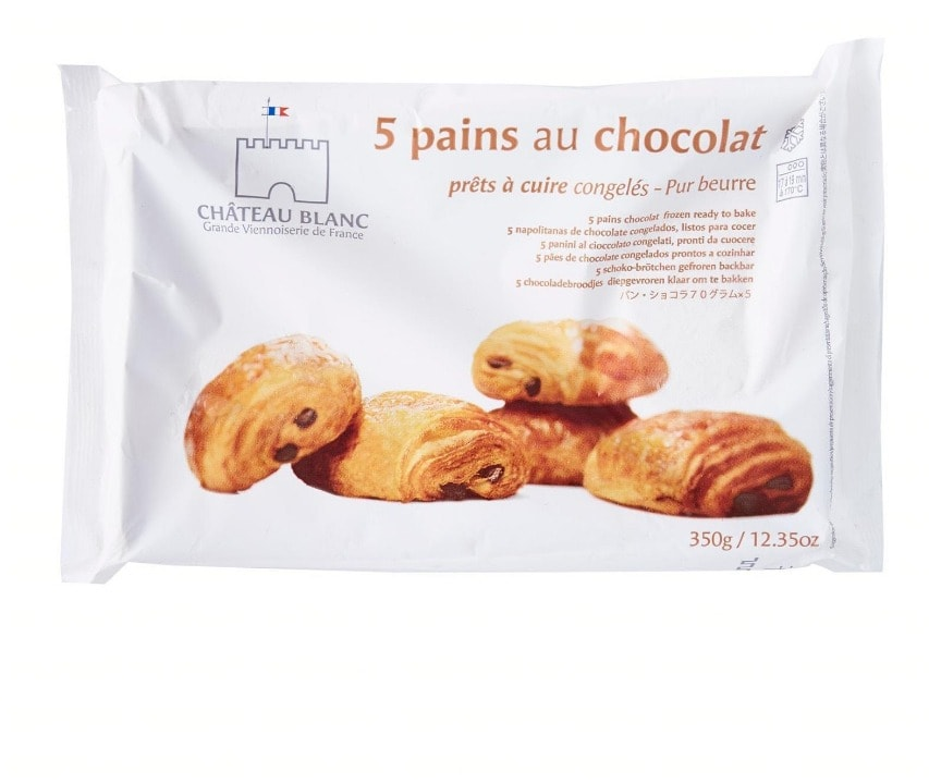Frozen Chocolate Croissant, Brand Chateau Blanc (France). 35 packs x 5 pieces. Expired on 24/07/2019