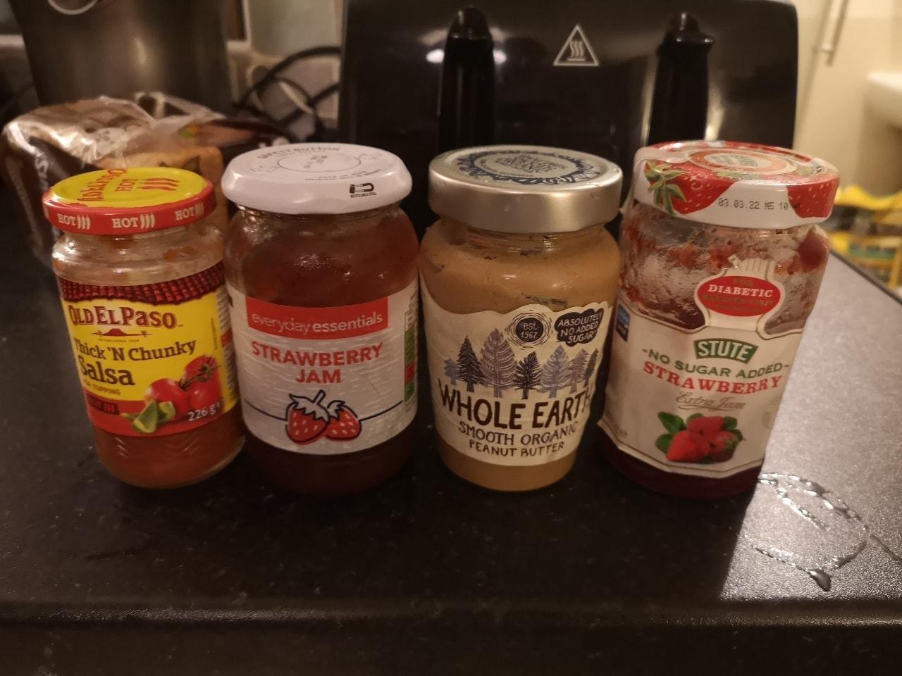 Strawberry jam, peanut butter, salsa