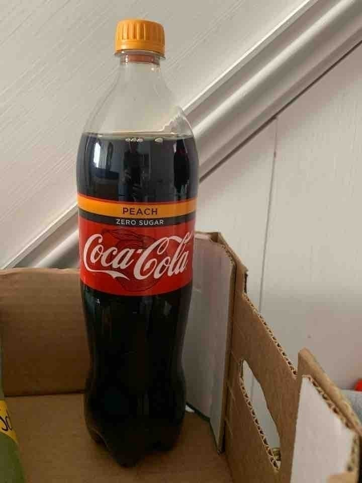 Coca Cola Zero sugar peach medium size bottle