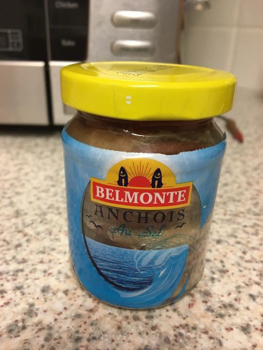 Anchovies in oil and salt