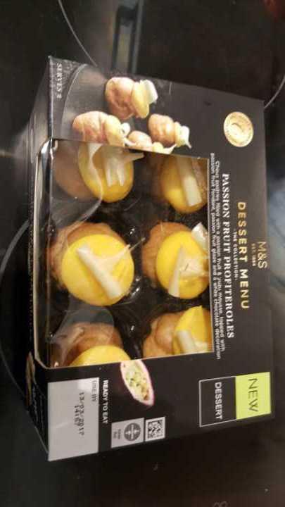 M & S Passion Fruit Profiteroles