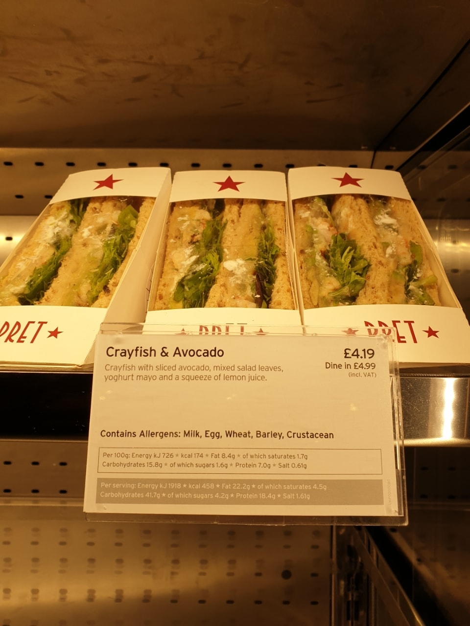 Pret meaty sandwiches