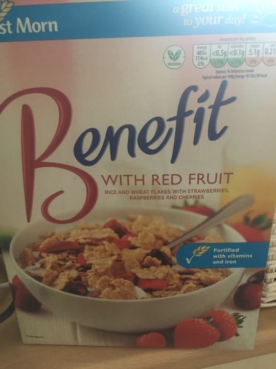 Full Box 'Benefit' red fruit Aldi Cereal