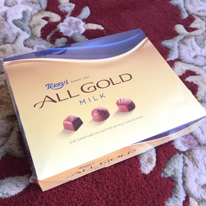 Unopened box of Terry's all gold milk chocolate