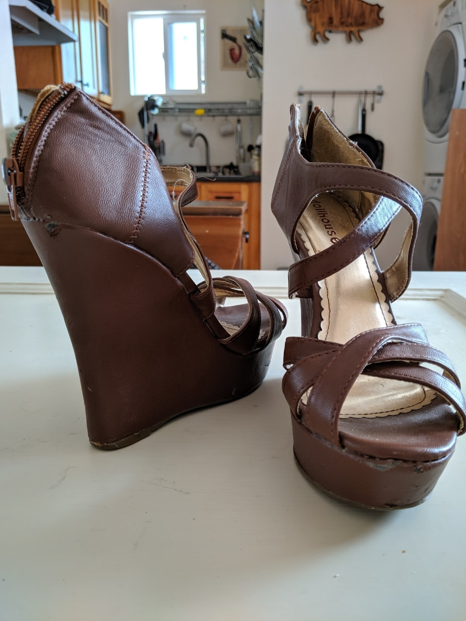Tan 8.5 wedge strappy high heels
