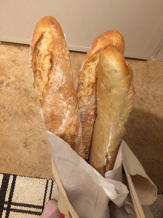 3  baked baguettes