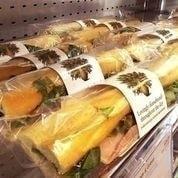 PRET vegan avo, olive and tom baguette