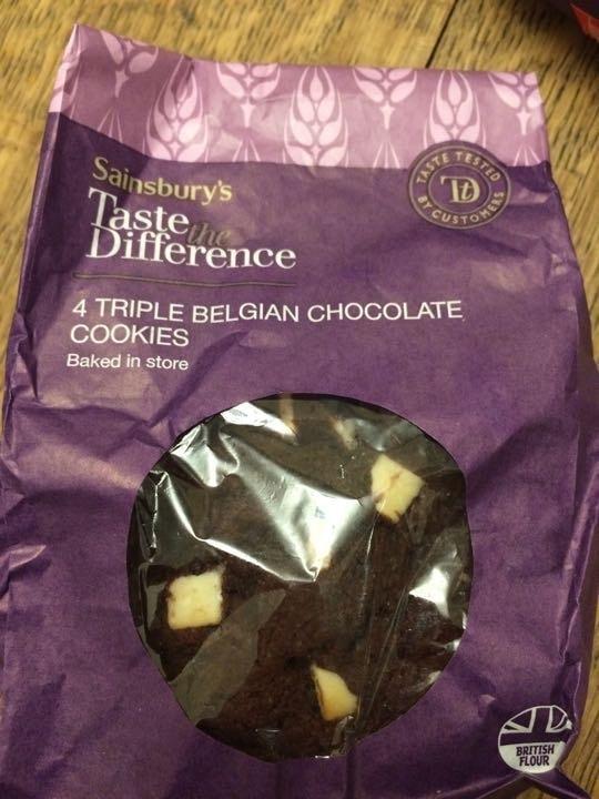 4 triple chocolate Belgian cookies.