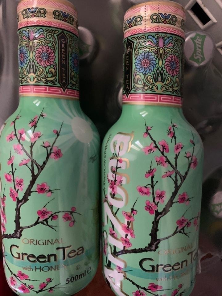 2 bottles of green tea with honey