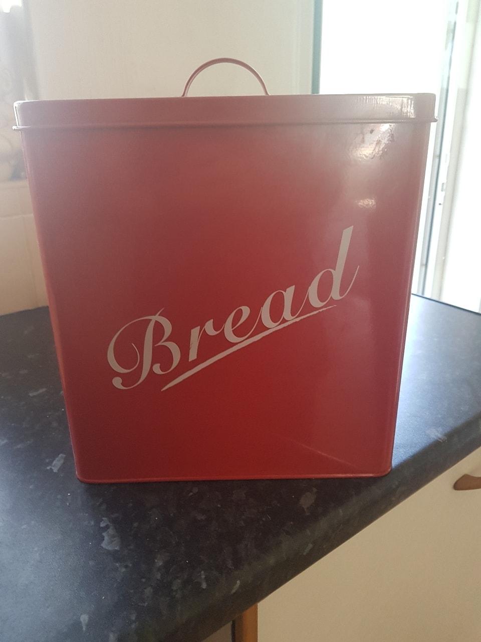 Large red bread bin