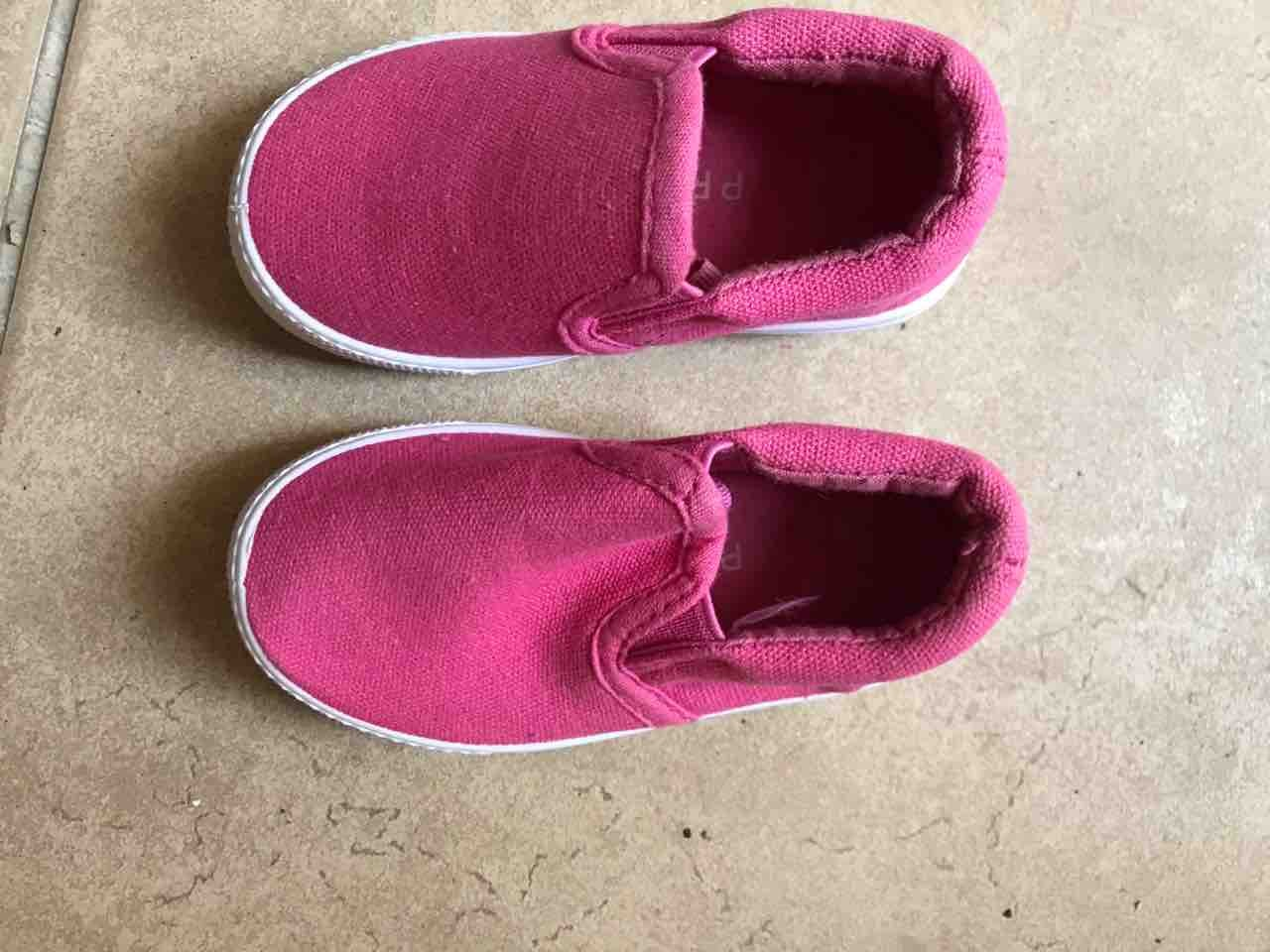Baby pink shoes.