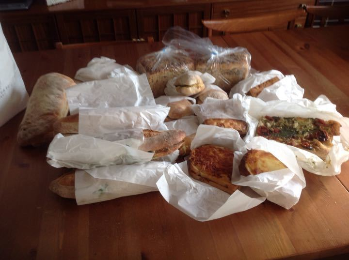 Fresh today: pizza squares, focaccia, filled baguettes and rolls, vegetarian sausage rolls, gluten free bread etc