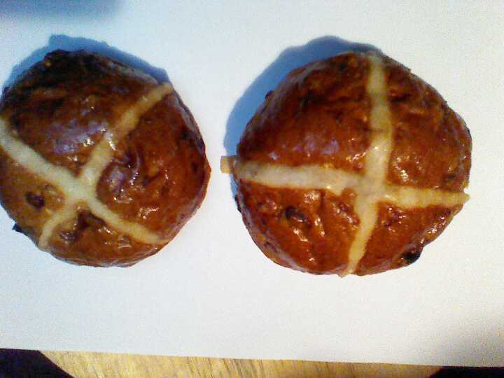 2 Beautiful, fresh, large hot cross buns plus other pastries