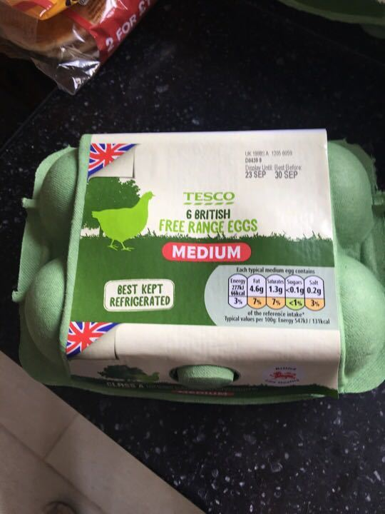 Tesco 6 medium free range eggs