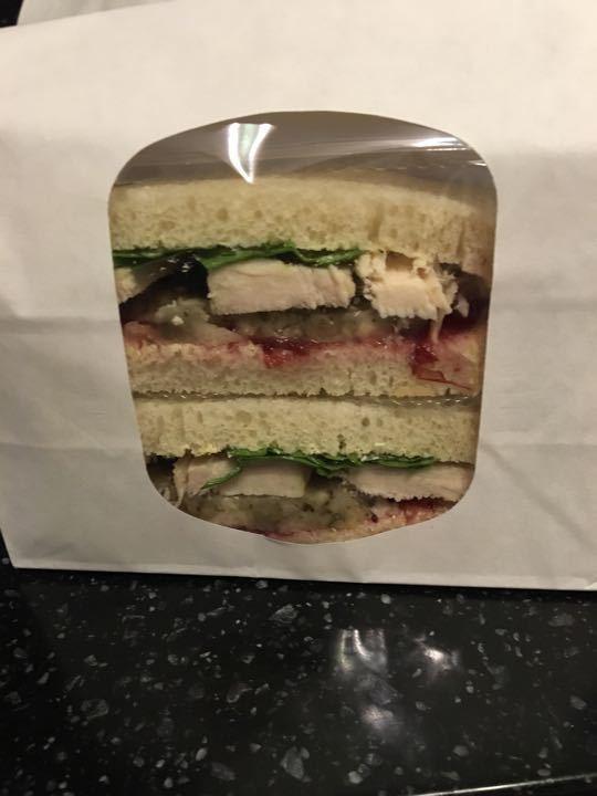 Turkey, stuffing and cranberry sandwich