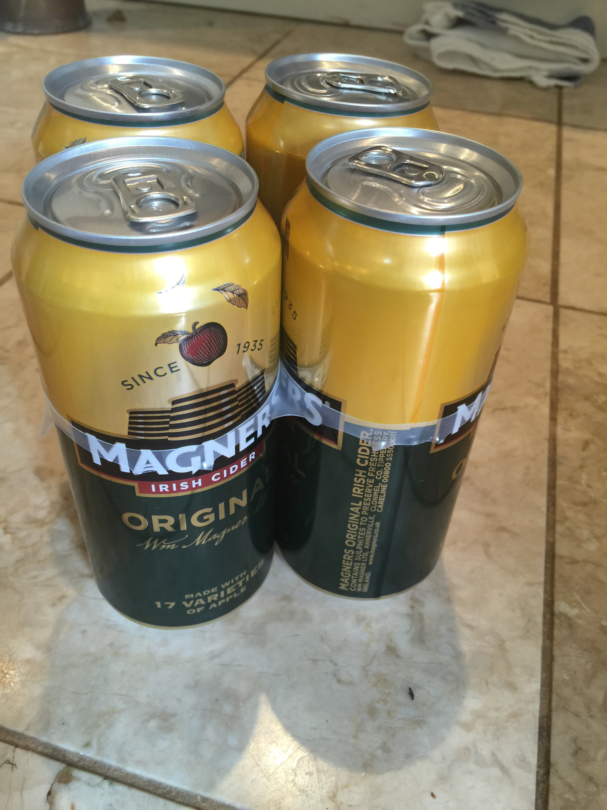 4 cans of magners