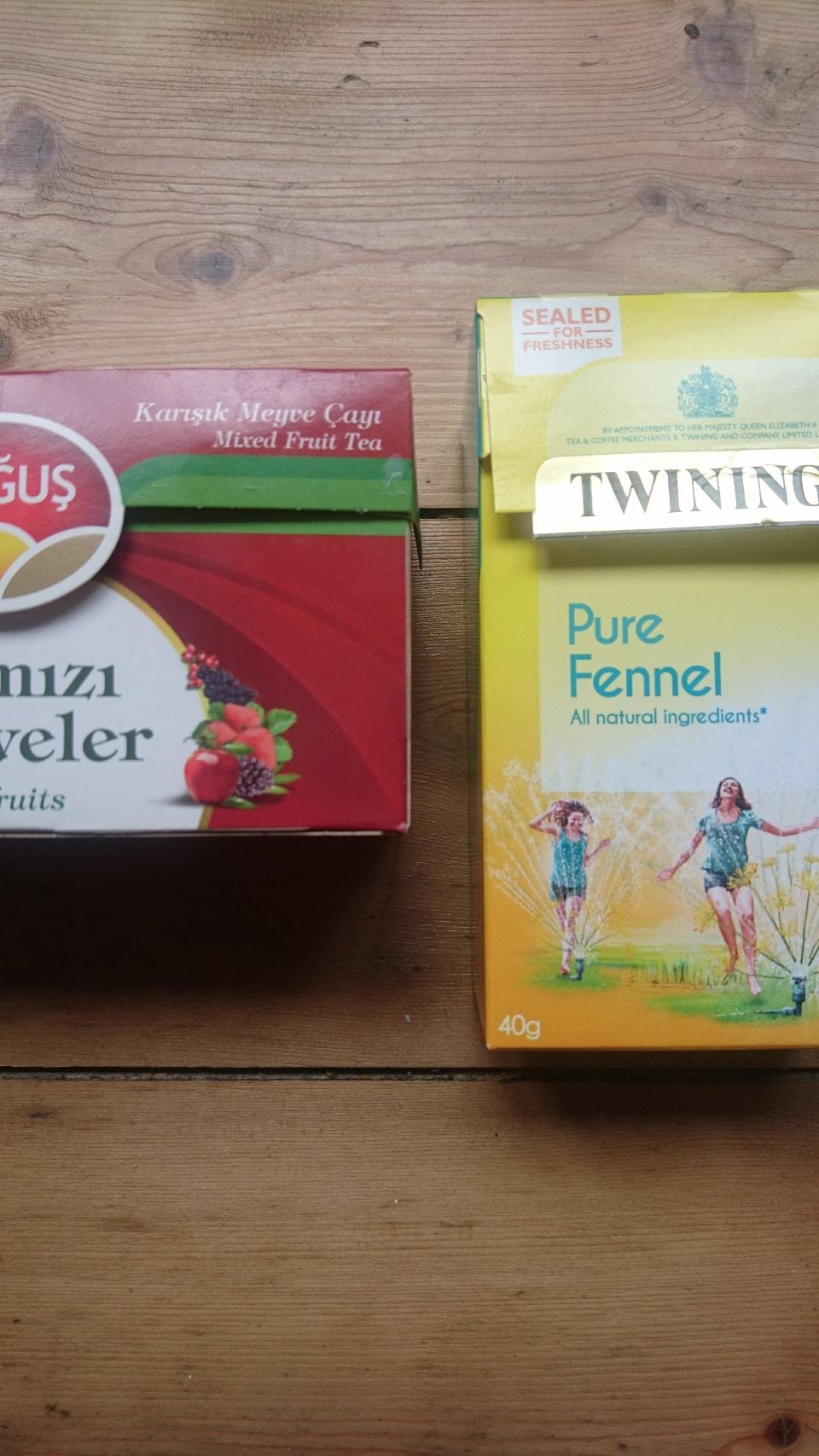 Mixed Fruit Tea + Twinings Fennel Tea