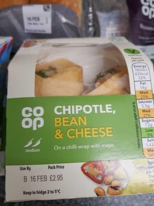 Chipotle bean & cheese wrap