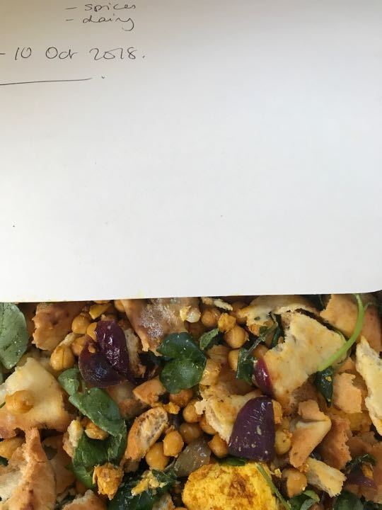 Paneer salad with watercress chickpeas and red onion