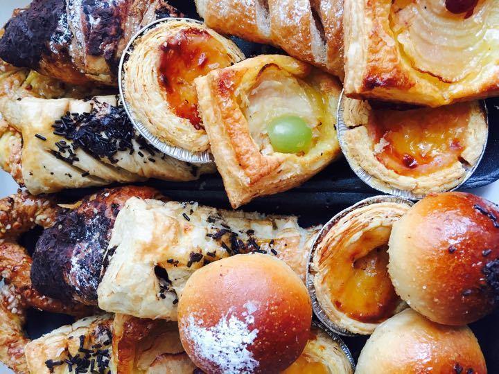 Croissants, pastries, churros, pizza subs