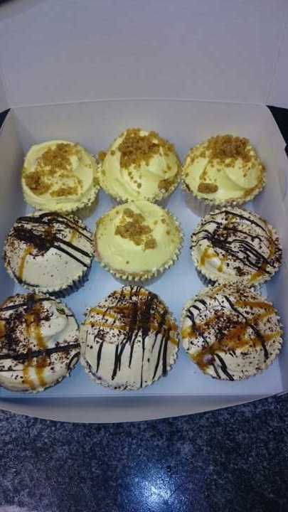 Mix of lemon and salted caramel cupcakes Angel Food Bakery
