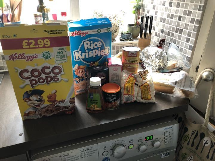 Cereal, bread and a few other items