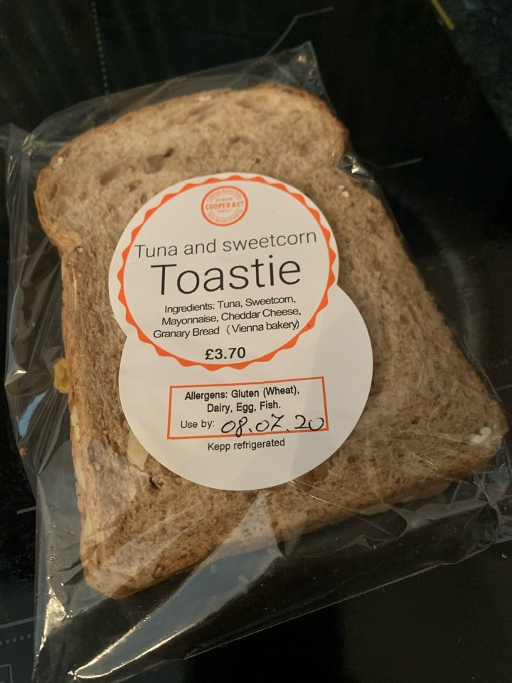 Tuna and sweetcorn toastie