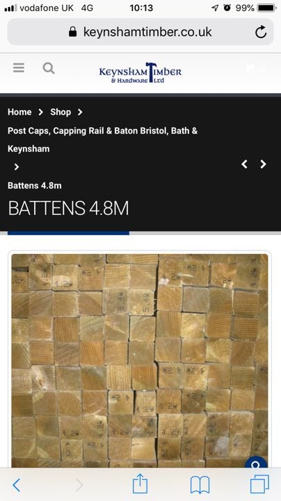 Battens 4.8m (25mm x50mm ) 7 in number