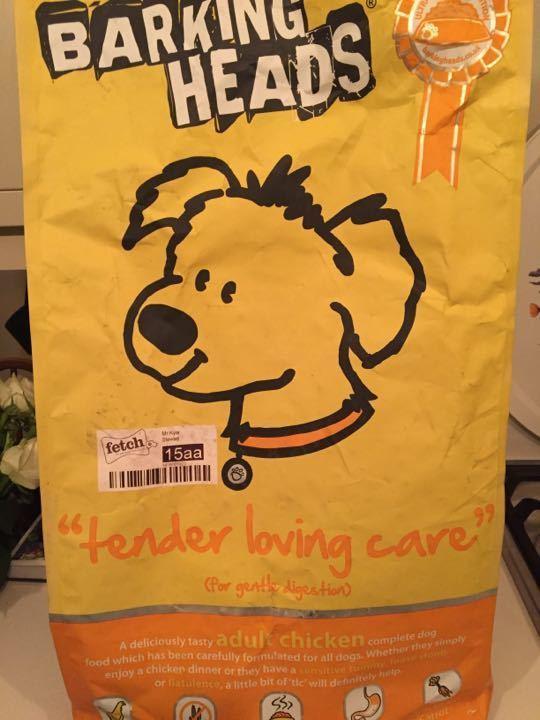 Barking Heads dog food (about 2kg left in bag)