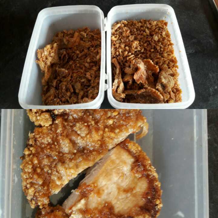 Fried pork and crispy mushroom bits
