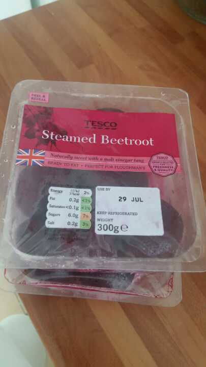 Steamed beetroot