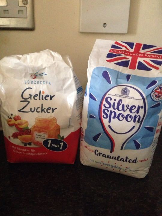 Jam and granulated sugar
