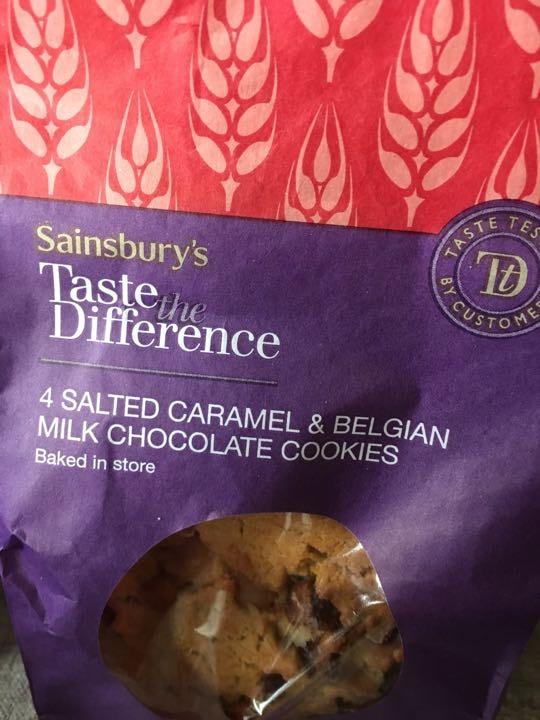 4 salted caramel and Belgian milk chocolate cookies