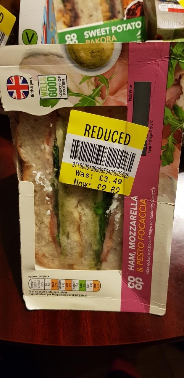 Ham, mozzarella sandwich