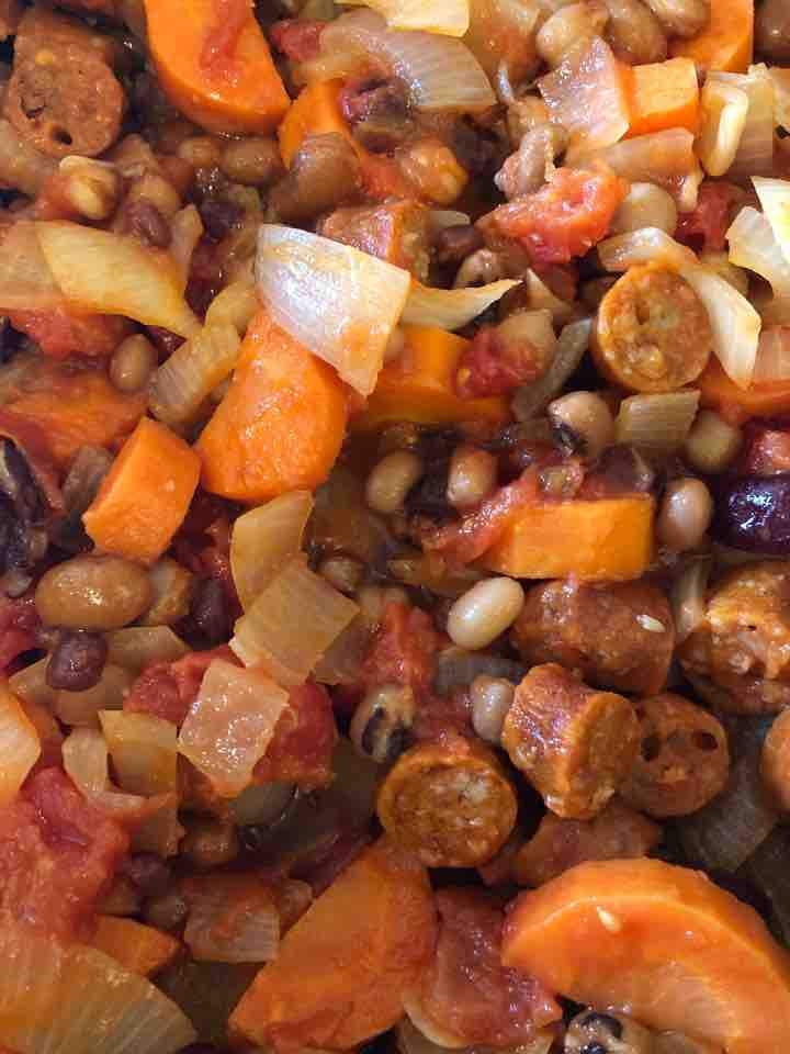 Vegan sausage and bean casserole