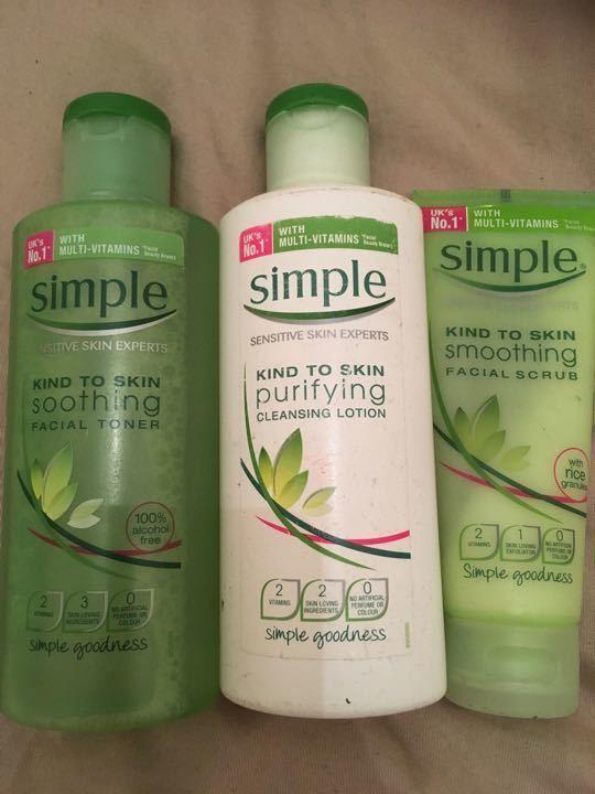 Simple cleanser, toner, face wash