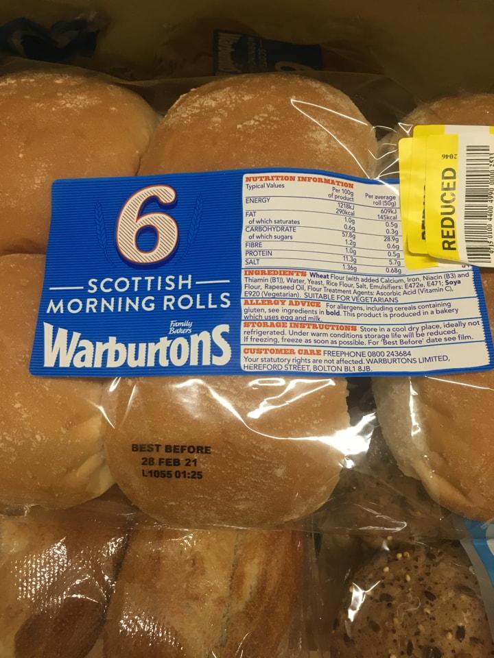 6 Scottish morning rolls