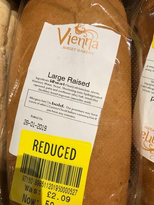 Large raised unsliced loaf