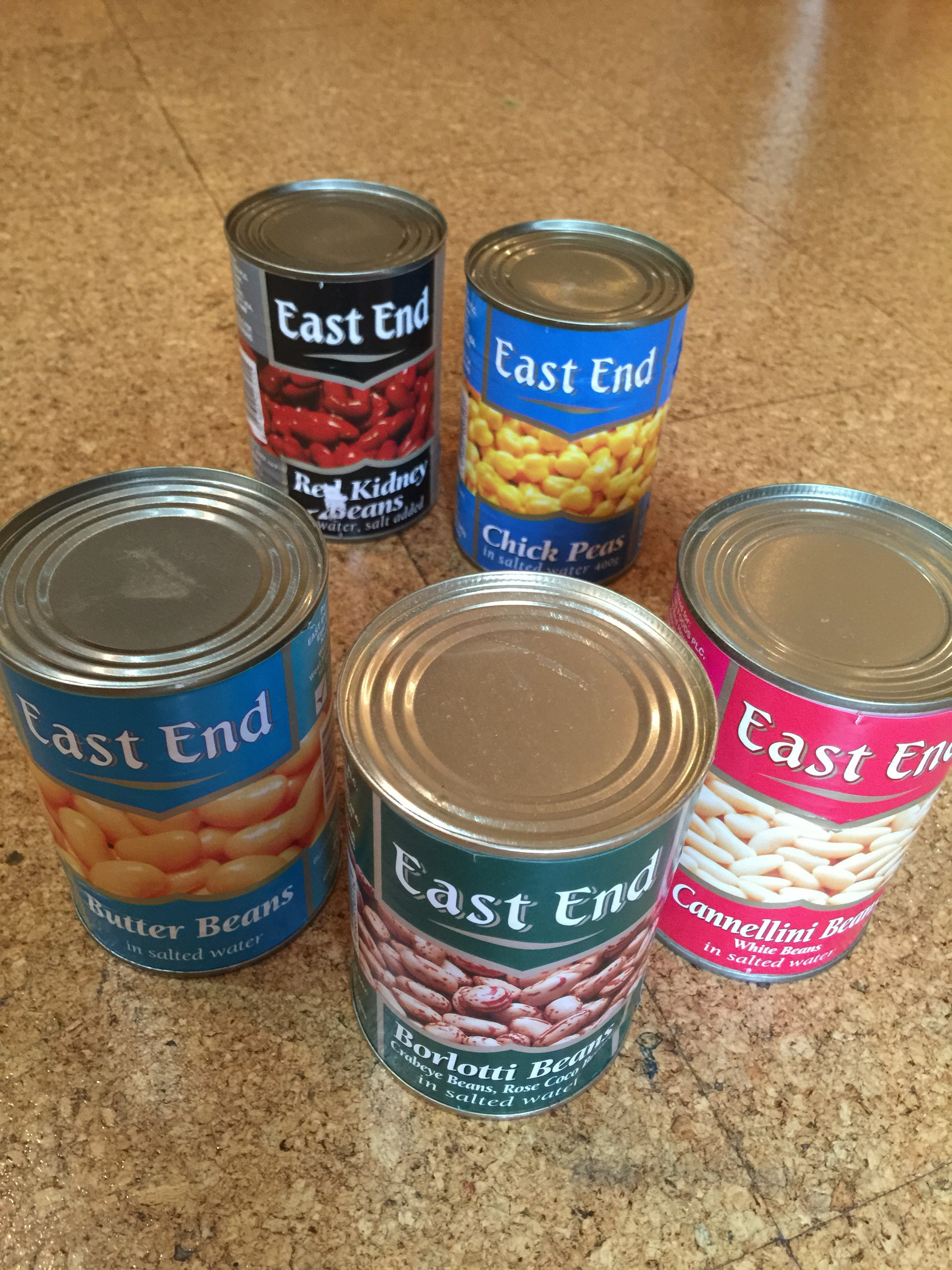 5 assorted tins of beans.