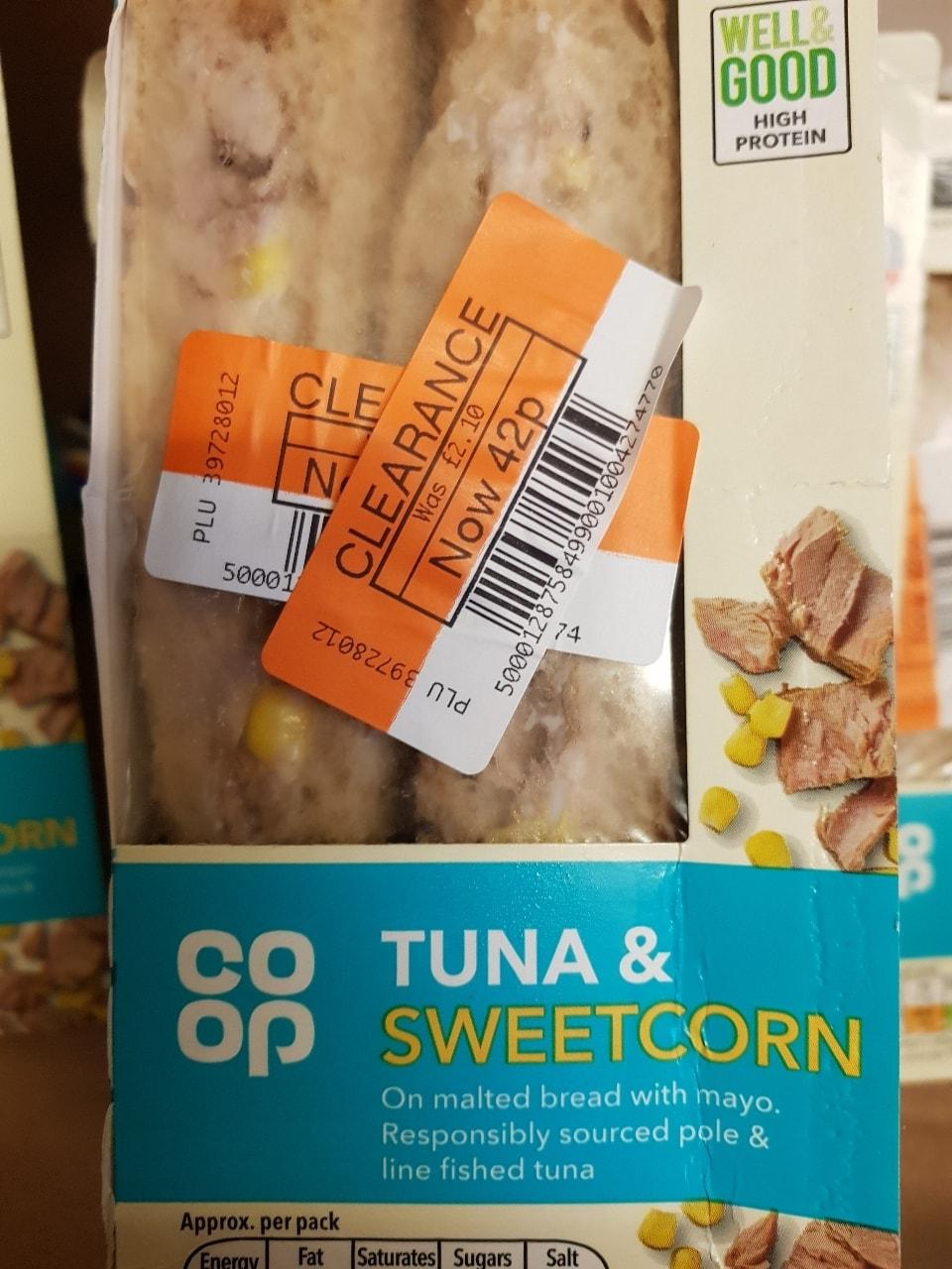 Tuna and sweetcorn sandwich
