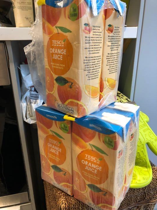 6 cartons of orange juice
