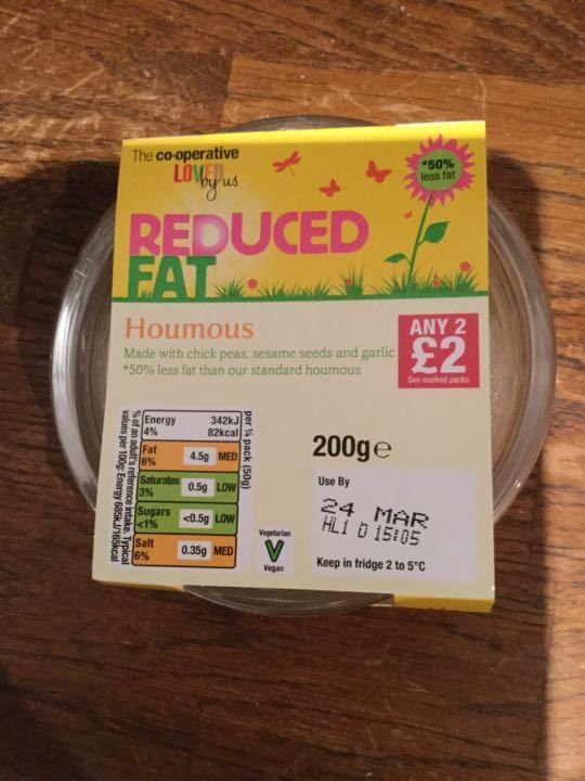 Reduced fat houmous