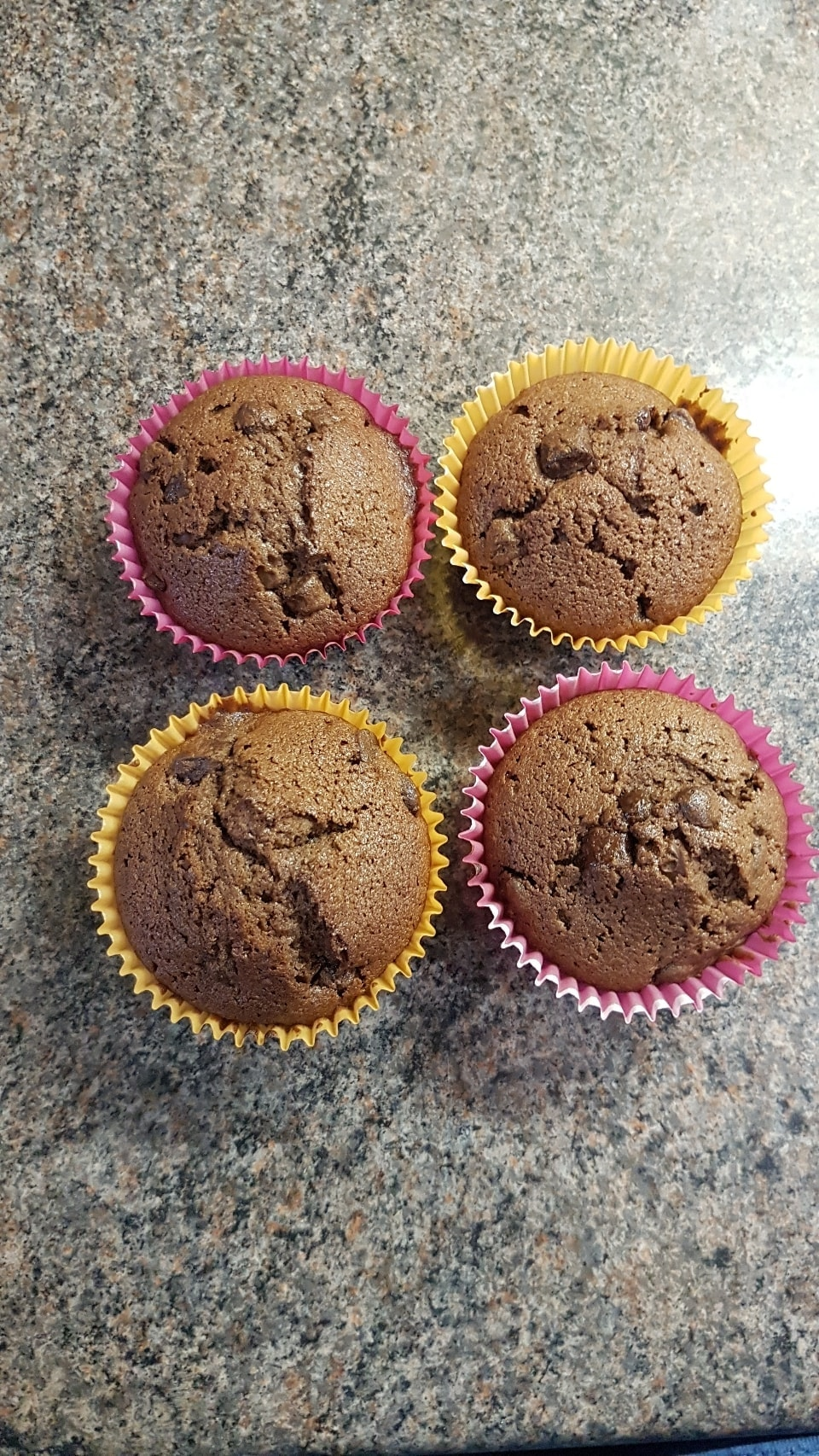 Four chocolate chip cupcakes