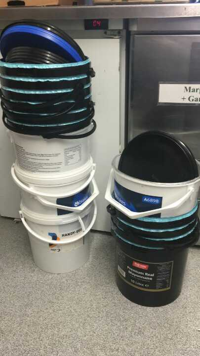 Plastic buckets from Loaf and Big J