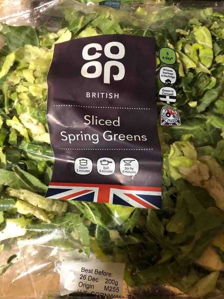 Sliced spring greens