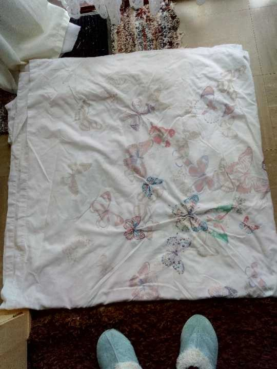 Double Duvet Cover White with Embroidered Butterflies.