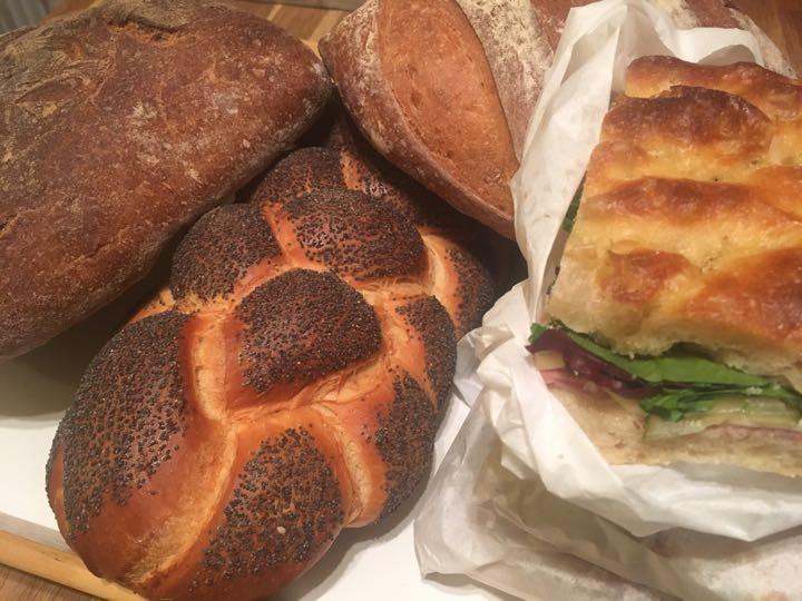 Bread and pastrami sandwiches